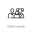 outline child custody vector icon. isolated black simple line element illustration from law and justice concept. editable vector stroke child custody icon on white background