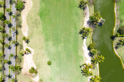 Fotografía  Aerial view from drone on golf field