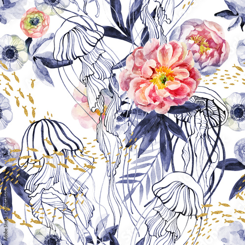 Artistic illustration with jellyfishes, a school of fish, peony flowers and leaves