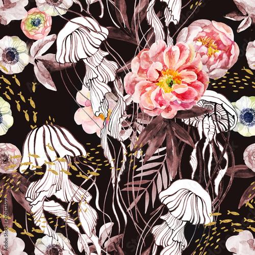 artystyczna-ilustracja-z-meduzami-lawica-ryb-kwiatami-piwonii-i-liscmi