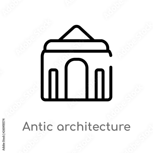 outline antic architecture vector icon  isolated black simple line