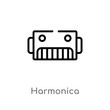 outline harmonica vector icon. isolated black simple line element illustration from music concept. editable vector stroke harmonica icon on white background