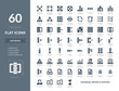 Flat solid Database system, Hosting, Data security icons in Vector format