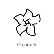 Outline Oleander Vector Icon. Isolated Black Simple Line Element Illustration From Nature Concept. Editable Vector Stroke Oleander Icon On White Background