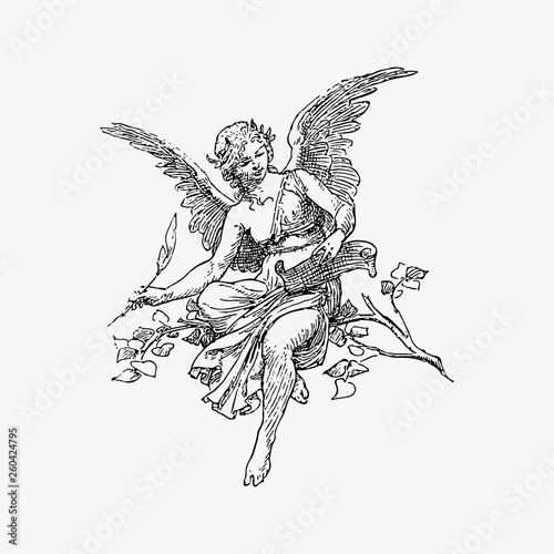 Female angel vintage drawing Wall mural
