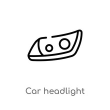 Outline Car Headlight Vector Icon. Isolated Black Simple Line Element Illustration From Car Parts Concept. Editable Vector Stroke Car Headlight Icon On White Background