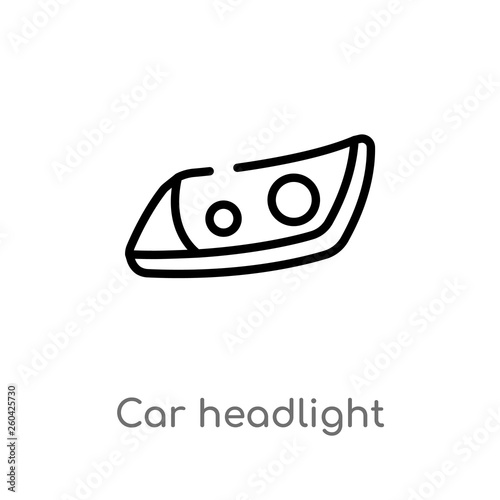 Obraz outline car headlight vector icon. isolated black simple line element illustration from car parts concept. editable vector stroke car headlight icon on white background - fototapety do salonu