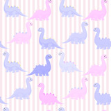 Fototapeta Dinusie - Funny colorful cute dinosaurs vector flat seamless pattern isolated