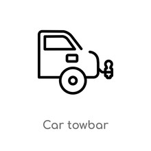 Outline Car Towbar Vector Icon. Isolated Black Simple Line Element Illustration From Car Parts Concept. Editable Vector Stroke Car Towbar Icon On White Background