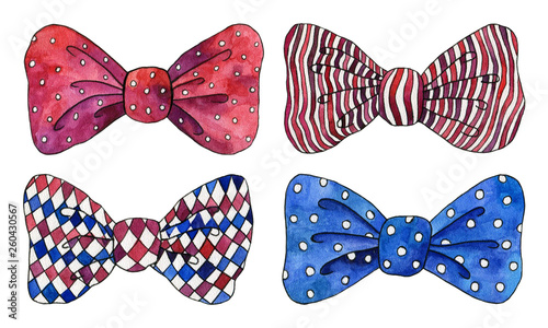 Photo Watercolor set of blue and red bows