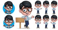 Cartoon Geek Boy Mascot Charac...