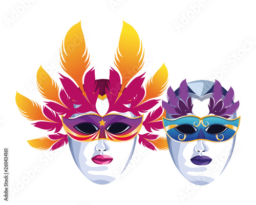 Fototapeta mask with feathers obraz