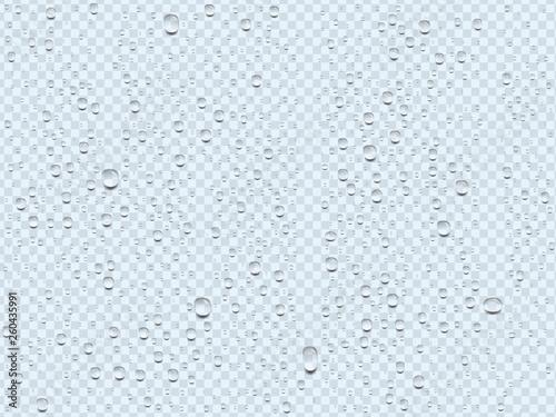 Wallpaper Mural realistic transparent water drops