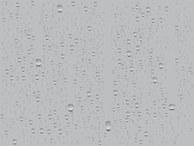 Realistic Transparent Water Drops On Gray Background