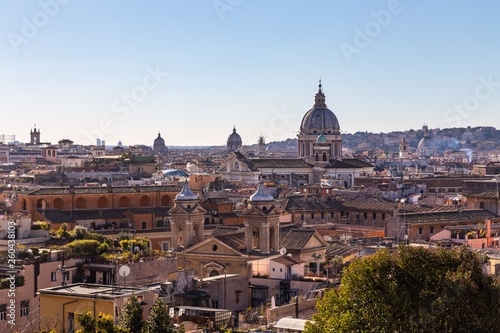 Poster Rome Panoramic sight from the heights with the dome and rooftops of the eternal city in Rome, Italy