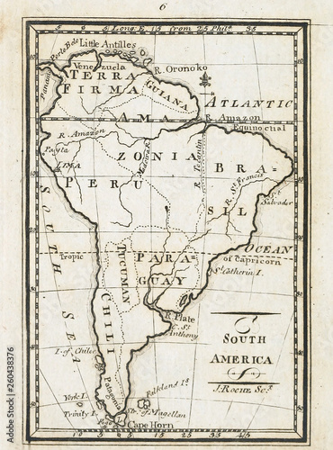 Old map. Engraving image Canvas