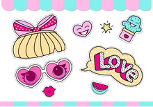 Set Of Cute Girlish Vector Stickers For Lol Surprise Party. Doll's Style Element Of Design. Photo Booth Props.  Doodle Pink Sweet Picture For Kids Daily Book, Scrapbook, Notebook. Summer Girl T-shirt