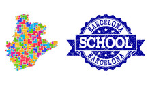 Mosaic Map Of Barcelona Province And Grunge School Stamp Collage
