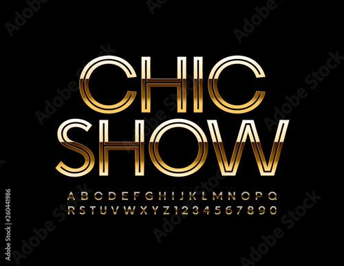 Obraz na plátně  Vector Golden poster Chic Show with elegant Font