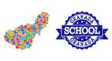 Mosaic Map Of Granada Province And Grunge School Seal Composition