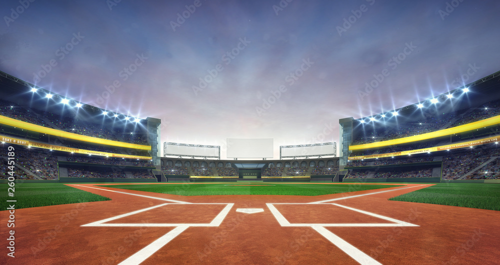 Fototapeta Grand baseball stadium field diamond daylight view, modern public sport building 3D render background.