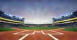 Grand baseball stadium field diamond daylight view, modern public sport building 3D render background.