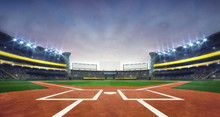 Grand Baseball Stadium Field Diamond Daylight View, Modern Public Sport Building 3D Render Background.