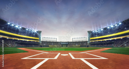 Grand baseball stadium field diamond daylight view, modern public sport building 3D render background Wallpaper Mural