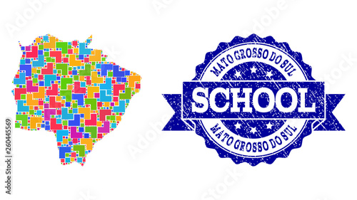 Fotografija  Mosaic Map of Mato Grosso Do Sul State and Textured School Seal Composition