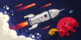 Fototapeta Kosmos - Rocket flying in space to other planets. Spaceship surrounded by comets and celestial bodies. Vector flat illustration.