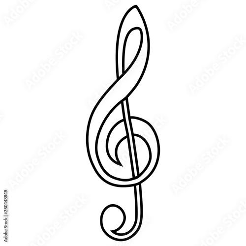 Obraz na płótnie Musical sign treble clef vector calligraphy treble clef