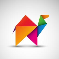 Wielbłąd origami. Logo wektor