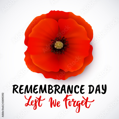 Remembrance day vector poster design with lettering Canvas Print