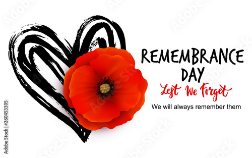 Remembrance day vector poster design with lettering