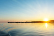 Beautiful sunset view from the water ship. landscape with the concept of travel.