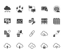 Cloud Data Storage Flat Glyph Icons Set. Database, Information Storage, Server Center, Global Network, Backup, Download Vector Illustrations. Technology Signs. Solid Silhouette Pixel Perfect 64x64