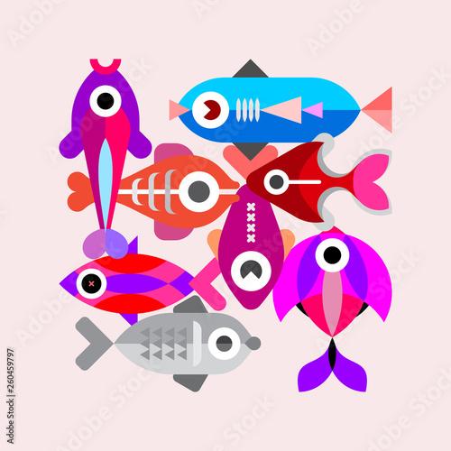 Photo sur Aluminium Art abstrait Exotic Fish vector illustration