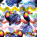 Vector botanical seamless pattern with Toucan and waves