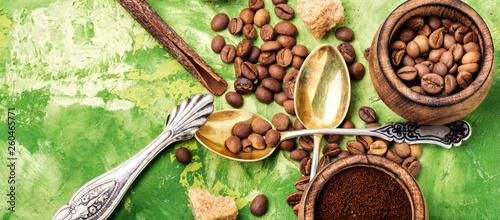 Poster Café en grains Coffee beans and grounds