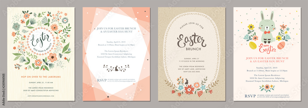 Fototapeta Happy Easter templates with eggs, flowers, floral wreath and branches, rabbit and typographic design.