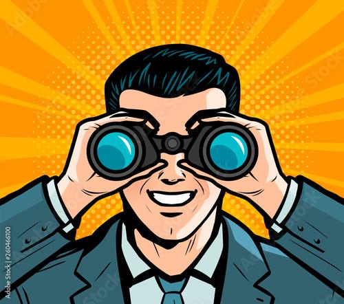 Biznesmen patrzeje przez lornetek. Komiks w stylu retro pop-artu. Ilustracja kreskówka wektor