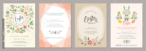 Happy Easter templates with eggs, flowers, floral wreath and branches, rabbit and typographic design.  - fototapety na wymiar