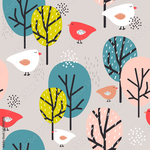 Seamless pattern, birds and trees, hand drawn overlapping backdrop. Colorful background vector. Cute illustration. Decorative wallpaper, good for printing