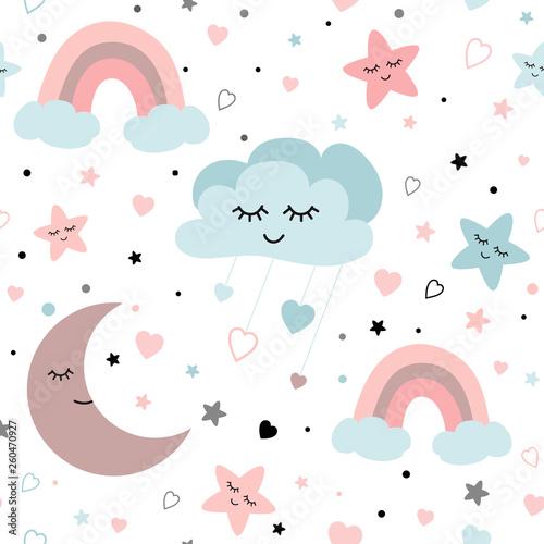 Wektor przedstawiający śpiący księżyc serca gwiazdy tęczy chmury. Ilustracja dziecka.