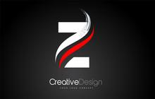 White And Red Z Letter Logo Design Brush Paint Stroke On Black Background