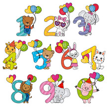 Animals With Numbers From 1 To 10. With Balloons And Party Hats