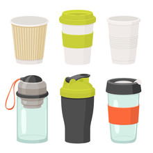 Cups And Drink Glasses Vector Icon Set. Flat Illustration