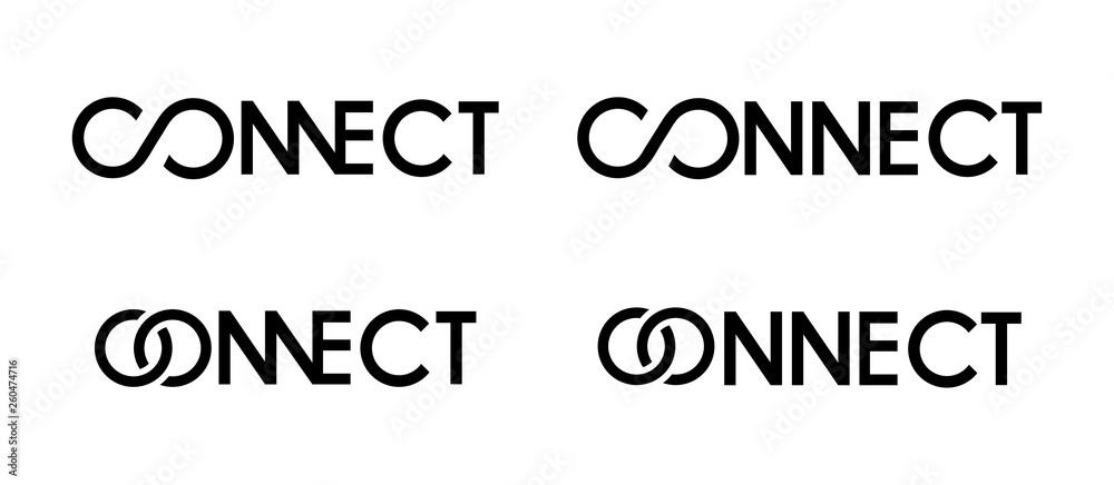 Fototapeta connect logo black and white