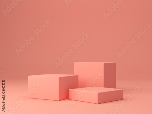 Fotomural Pink coral shapes on a coral abstract background