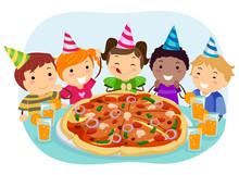 Stickman Kids Pizza Birthday P...